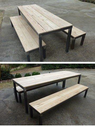 Forged coffee table  picnic table benches web