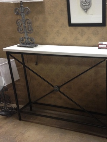 Quarts top console steel with cast medalions 12x48.5x37h   web